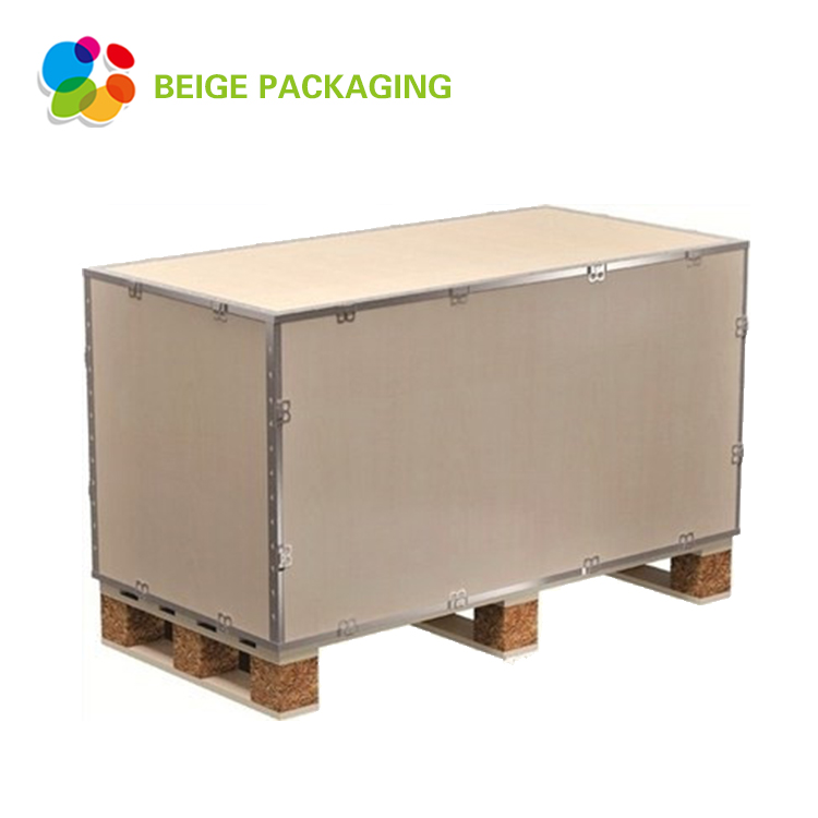 Foldable type S wooden box with steel strip