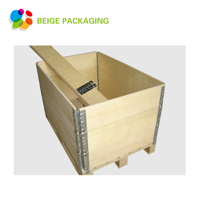 Collapsible hinged wooden box for storage