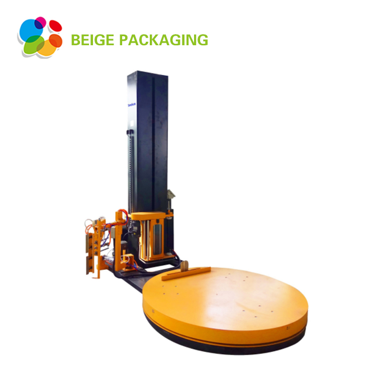 Pallet,stretch film and paper wrapping machine
